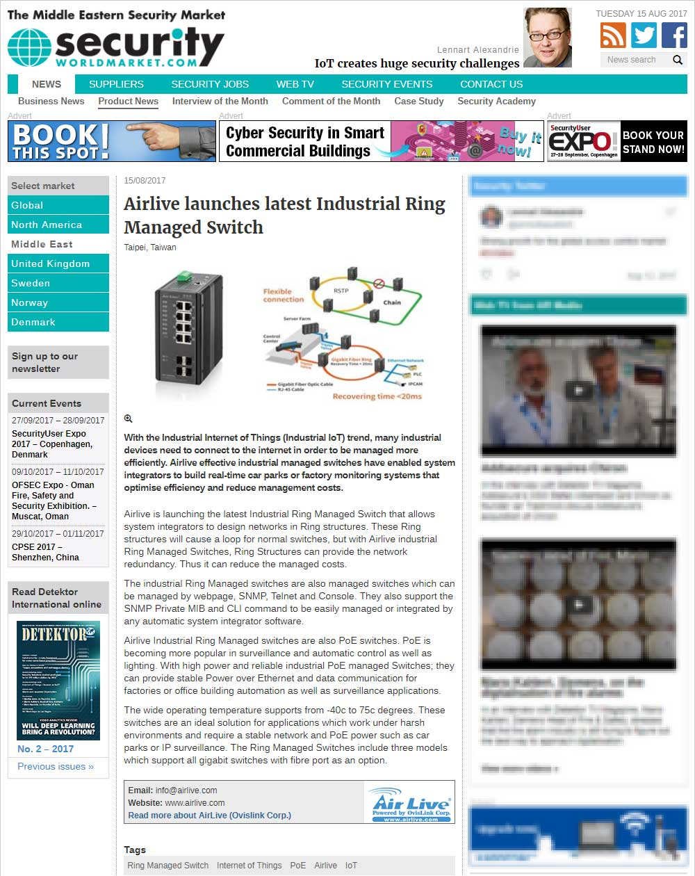 Airlive launches latest Industrial Ring Managed Switch (news from