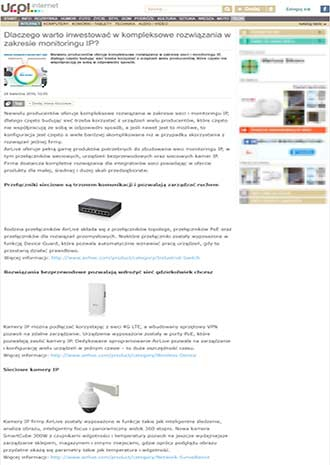 Poland Media Exposure about AirLive Wireless Surveillance Solutions on UR.PL