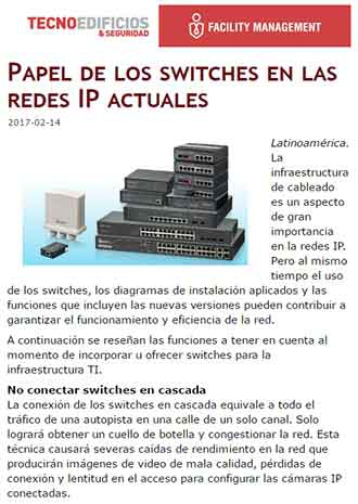 El papel de los switches en las redes IP actuales (news from ventasdeseguridad.com 170214)