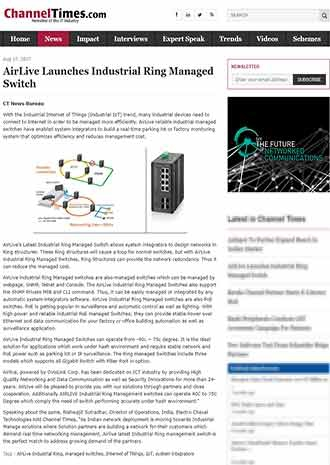 AirLive Launches Industrial Ring Managed Switch (news from ChannelTimes.com 170818)