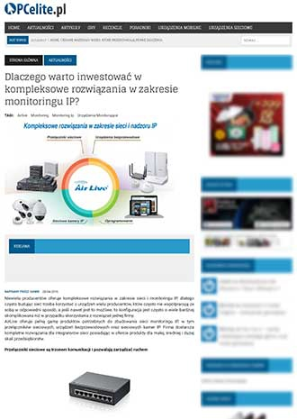 Poland Media Exposure about AirLive Wireless Surveillance Solutions on pcelite.pl
