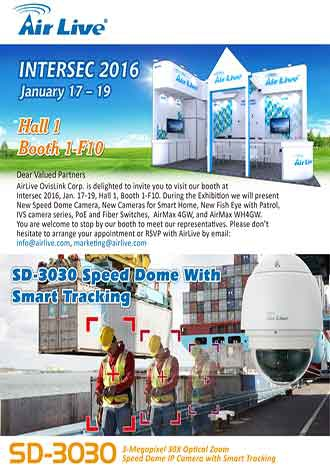 Invitation to Intersec Dubai 2016: Airlive SD3030 Speed Dome With Smart Tracking