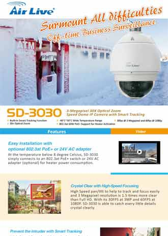 Surmount All Difficulties with AirLive Speed Dome SD-3030 Off-time Business Surveillance