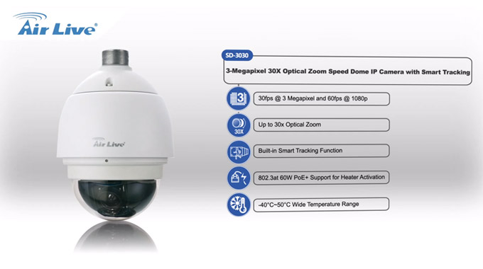 SD-3030 3-Megapixel 30X Optical Zoom Speed Dome IPCAM with Smart Tracking