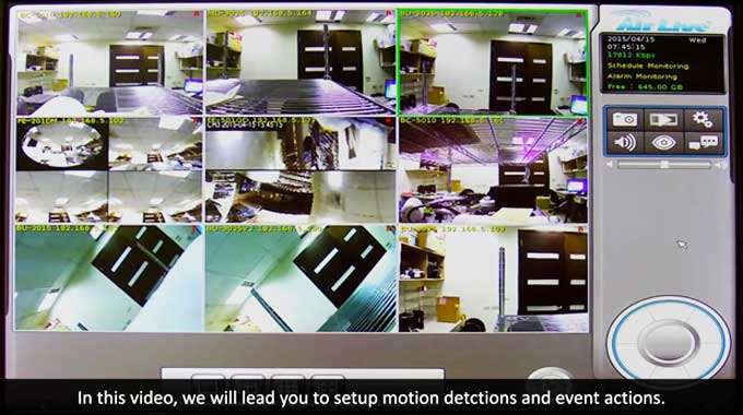 CoreNVR Motion Detection and Event Settings